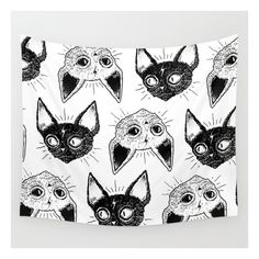 Kittens  Wall Tapestry ($39) ❤ liked on Polyvore featuring home, home decor, wall art, wall tapestries, animal wall art, cat illustration, home wall decor, outside wall art and mounted wall art