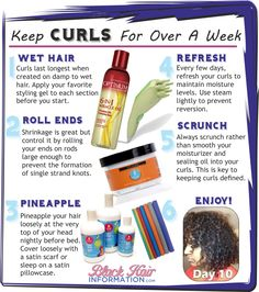 Keep Curls For Over A Week - BHI Postcard Tips  Read the article here - http://www.blackhairinformation.com/our-newsletters/postcard-tips/keep-curls-for-over-a-week-bhi-postcard-tips/