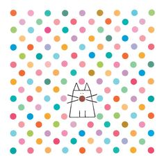 Lovely and bright spotty cat and dots by Lucy Monkman