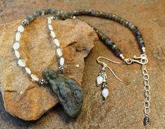 Carved Labradorite Goddess Necklace Set - Rainbow Moonstone, Labradorite and Sterling Silver - Artisan Necklace Set - Labradorite Jewelry