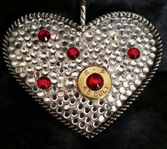 Ammo Heart Pendant filled with Red & Clear Crystals https://www.facebook.com/LimitlessCreationsByJules