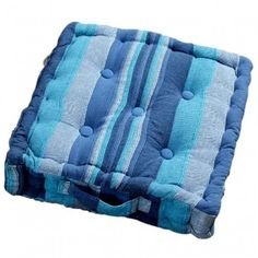 Morocco Striped Cotton Floor Cushion Blue