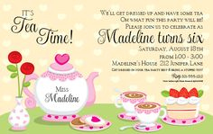 This sweet invitation features a background of pale yellow hearts and a tea set on a table. Free Party Invitations, Birthday Party Invitation Wording, Invitation Templates Word, Invitation Ideas, Invites, Shower Invitations, Invitation Design, Wedding Invitation, Royal Tea Parties