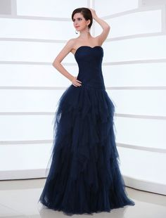 Wishesbridal Navy Blue Pleated Sweetheart Floor Length A Line Evening Prom Dress