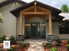 Exterior Windows, Exterior Houses, Mega Greige, Stone Veneer Exterior, Black Metal Roof, Exterior Paint Schemes, Outdoor Landscaping, Outdoor Decor, Roof Trim