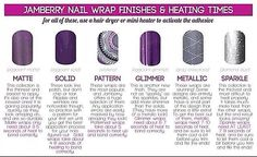 Jamberry Nails heating time for different finishes www.ashleymcharper.jamberrynails.net