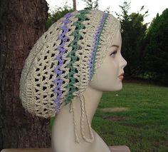 New to PurpleSageDesignz on Etsy: Cotton Hemp Hippie Tam Hat Slouchy Beanie snood (25.00 USD)