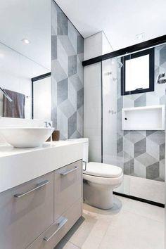 geometric tile large gray block tile walls in bathroom