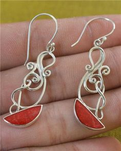 Natural Coral  Shell 925 Silver Earrings Jewelry with by Gingsir, $15.00