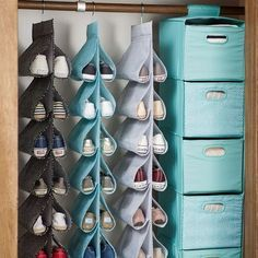 Ready-To-Roll Storage Cart, Mini Dot Hanging Closet Shoe Storage, Mini DotSpinning Shoe Rack Ideas, Best to Organize Your ShoesThe Very Best (and Best-Looking) Dorm Storage SolutionsStoring sneakers like this (with a Formé shoe shaper inside) is a p Closet Shoe Storage, Shoe Holder For Closet, Kids Shoe Storage, Shoe Hanger Organizer, Closet Drawers, Diy Drawers, Shoe Closet, Underbed Storage Ideas, Closet Clothing