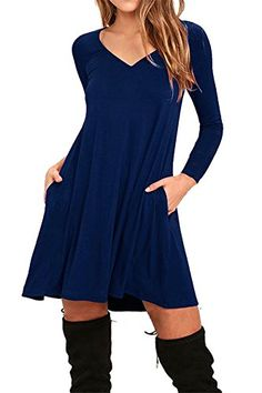 Womens Loose A-Line Swing T-Shirt Dress -- To view further for this item, visit the image link.(It is Amazon affiliate link) #WomenPlusDress