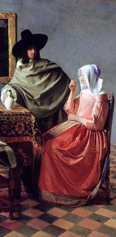 Johannes Vermeer, The wine glass  - detail