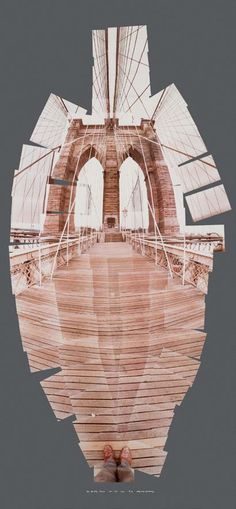 David Hockney. Brooklyn Bridge, 1982 Photographic collage - I have an idea in my mind kind of like this but not quite, my idea would not have the photographed element so clearly defined with just jagged edges, thinking may also use some Photoshop coloring or sponge or spray paint??