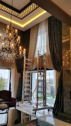 Yüksek tavanlı loft salon fon perde Modeli
