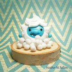 Baby snow yeti by Heather Sellers. #Lampwork #yeti #snow #snowball #heathersellers