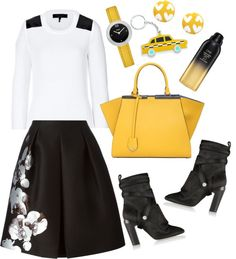 """Fendi orchid embroidered skirt"" by mazkool ❤ liked on Polyvore"