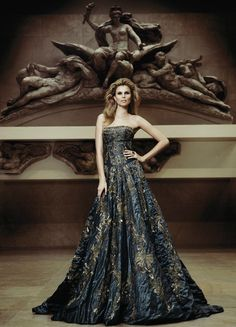 Zuhair Murad Haute Couture ~ steel strapless heavy olive applique gown