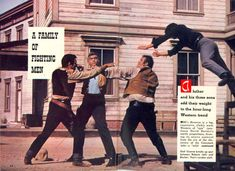 """Lorne Greene breaks up a spat between Pernell Roberts and Dan Blocker on """"Bonanza""""...that's Michael Landon in mid-air. Article from November 7, 1959 TV GUIDE."""