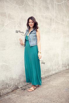 Green maxi dress + denim vest