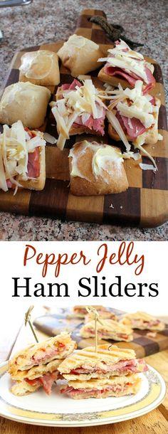 Pepper Jelly Ham Sliders - get the recipe at missinthekitchen.com