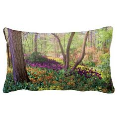 """Woodland Tulip Glory"" Pillow, with digitally rendered ""watercolor"" image from photograph shot during a spring visit to Garvan Woodland Gardens in Hot Springs, Arkansas. (http://www.zazzle.com/woodland_tulip_glory_throw_pillow-189658272794150571?CMPN=addthis&lang=en&rf=238581717104918999) (https://www.facebook.com/hawcreek)"