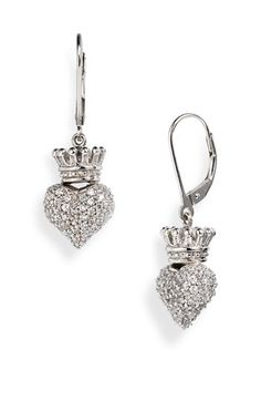 Queen Baby Small Crowned Pavé Heart Earrings | Nordstrom - StyleSays