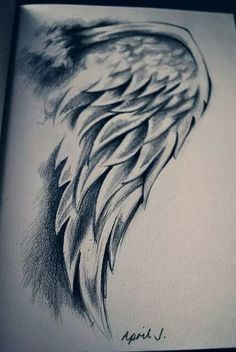 Drawing of a angel wing.