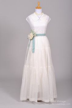 1940s Embroidered Voile Vintage Wedding Gown