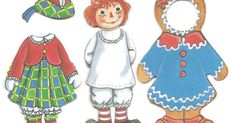 Raggedy Ann & Raggedy Andy are so colorful that they just seem perfect for Christmas. These cloth paper dolls are from the 1990's.