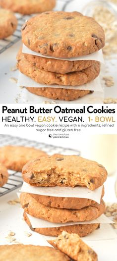 Vegan peanut butter oatmeal cookies an easy healthy oatmeal cookies with chocolate chips with a chewy texture, refined sugar free and gluten free too! Vegan Oatmeal Cookies, Easy Peanut Butter Cookies, Peanut Butter Oatmeal, Healthy Cookies, Almond Recipes, Healthy Baking, Clean Eating Snacks, Eating Healthy, Cookies Et Biscuits