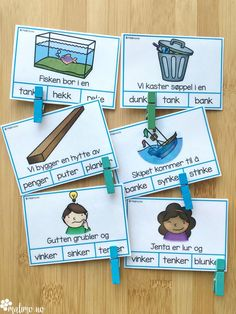 Klypekort for å øve på språklyder, nærmere bestemt NK-lyd og NG-lyd Special Education, Montessori, Vocabulary, Kindergarten, Crafts For Kids, Preschool, Language, Teaching, Activities