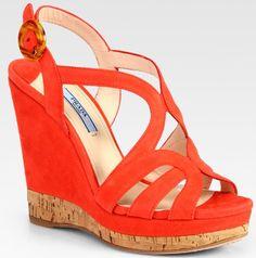 Prada Suede and Cork Multi Strap Wedge Sandals