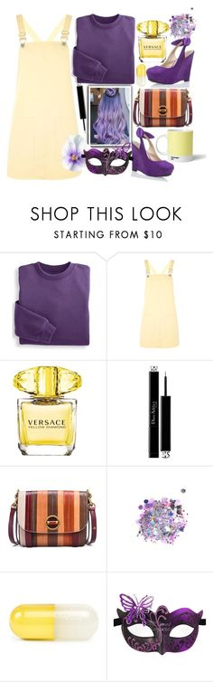 """yellow pinafore"" by shreya-stark ❤ liked on Polyvore featuring Topshop, Versace, Christian Dior, Tory Burch, The Gypsy Shrine, Jonathan Adler and Pantone"