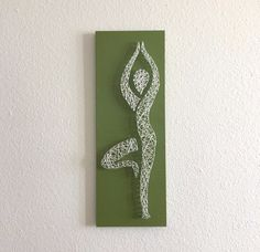 NAMASTE YOGA NAIL STRING ART WALL HANGING DECOR. Colors: Eucalyptus green, white string. Handmade By Jen Scott. | eBay!