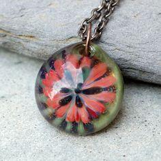 Glass Flower Pendant Borosilicate Boro Lampwork Handmade