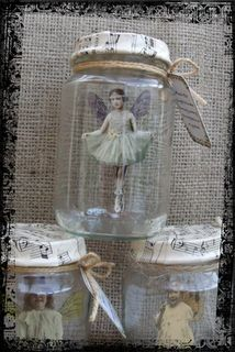 Jar Fairies, each Fairy is suspended inside the Jar and comes with a lable describing how she was caught!