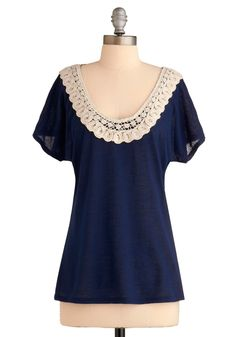 Navy too with lace neckline
