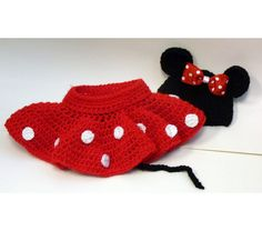 Crochet Minnie Mouse Skirt and Cap Set, $20.0