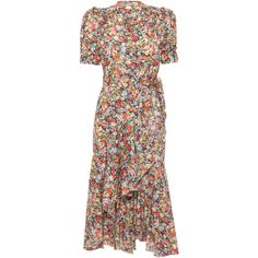 Anna Mason Stella Floral Printed Wrap Dress ($750) ❤ liked on Polyvore featuring dresses, multi, flower print dress, wrap dress, wrap dresses, botanical dress and floral day dress