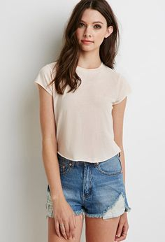 Boxy Heathered Crop Top | Forever 21 - 2000116940