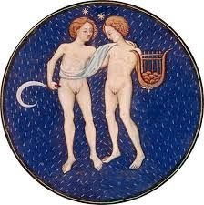 Gemini, illumination from a Book of Hours, Italian, c. in the Pierpont Morgan Library, New York City (MS. Gemini Art, Zodiac Signs Gemini, Zodiac Art, Zodiac Horoscope, Astrology Signs, Astrological Sign, Gemini Constellation, Gemini Rising, Traditional Artwork