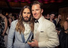 GAHHHH!  #JaredLeto and #BenedictCumberbatch at the Vanity Fair Oscar Party, 2015.