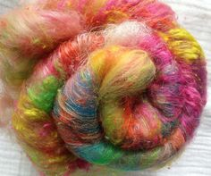 Baby Alpaca/Merino/Silk Noil Spinning Batt - (Textured) PSYCHEDELIC POWERS - 2 oz by AlmaPark on Etsy
