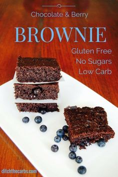 Super simple and low carb chocolate berry brownie. It's also gluten free, grain free and no added sugars. A great little healthy snack instead of cake. | ditchthecarbs.com