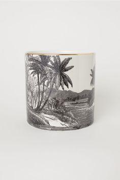 Porcelain plant pot - Black/Patterned - Home All | H&M 1