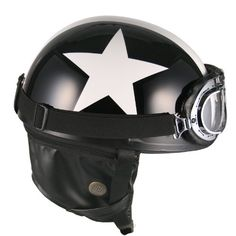 a6f96633aea Amazon.com  Goggles Vintage German Style Half Helmet (Black White-star  Large) Motorcycle Biker Cruiser Scooter Touring Helmet  Automotive