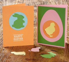 Cute, color block Easter cards - handmade by you!