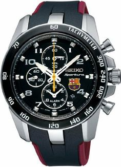 Seiko Sportura FC Barcelona Chronograph Black Dial Mens Watch SNAE93 Seiko. $264.94. Case Size: 42mm Diameter, 12mm Thickness. Hardlex Mineral Crystal, Date Display, Chronograph Alarm Function, Dual Time Capability. Precise Japan Quartz Movement (Caliber 7T63). Water Resistant - 100M, Screw Down Case Back. Stainless Steel Case, Resin Strap. Save 46% Off!