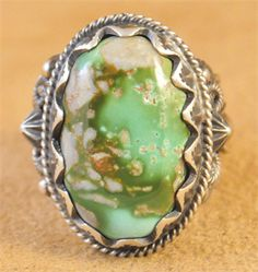 Handmade ring with natural rare gem grade Royston Turquoise, by Navajo artist Donovan Cadman.