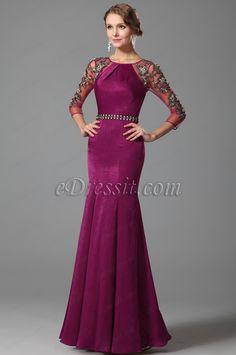 Hot Pink Lace Sleeves Mermaid Evening Gown (00153112) #edressit #dress #gown #fashion #women
